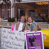 Prayerful Demonstration outside Bishops' Mass in Baltimore : On Sunday, November 12, 2006, WOC members gathered outside the Marriot Hotel to demonstrate as the bishops loaded into their buses to head to the Basilica of the Assumption.  WOC members then gathered outside the Basilica to demonstrate with banners and large posters.  Participants then celebrated an inclusive Mass outside while the bishops' celebrated Mass inside the Basilica.