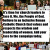 Face It! Campaign : Dear church leaders, It's time to face it! We, the People of God, believe in an inclusive Roman Catholic Church that values and respects the wisdom and leadership of women.   Add your face to the visual petition! Email a photo to ehanna@womensordination.org  All photos are copyrighted property of Women's Ordination Conference.
